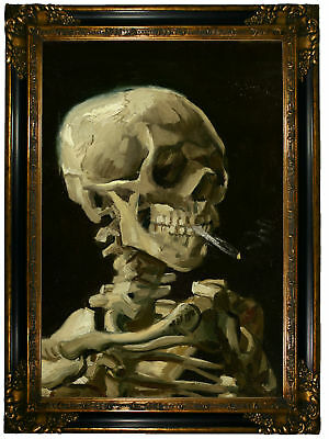 van Gogh Head of skeleton with cigarette Wood Framed Canvas Print Repro 19x28