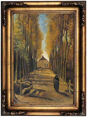 van Gogh Avenue of poplars in autumn 1884 Wood Framed Canvas Print Repro 12x18