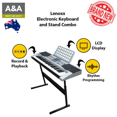 Lenoxx Electronic Keyboard and Stand Combo with 61 Electronic Keys Instrument