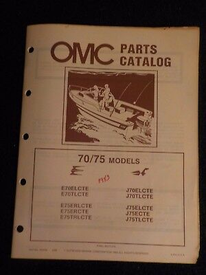 1983 OMC Johnson Evinrude Outboard Parts Catalog Manual 70 75 HP DEALER FACTORY
