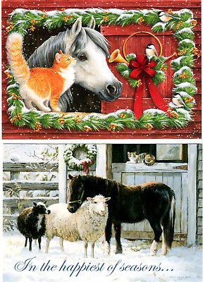 """(10) DIFFERENT 5"""" X 7"""" CHRISTMAS CARDS - BEAUTIFUL HORSES by LEANIN' TREE - NEW"""