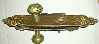 Complete Antique Victorian Large Brass & Cast Iron Door Knob Set Estate # 71