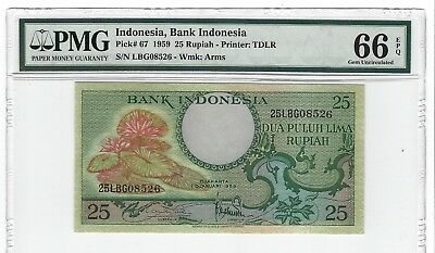 P-67 1959 25 Rupiah, Bank of Indonesia, PMG 66EPQ GEM + Uncirculated