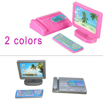 Furniture Dollhouse Miniature Modern Computer for Barbie Size Doll Gifts
