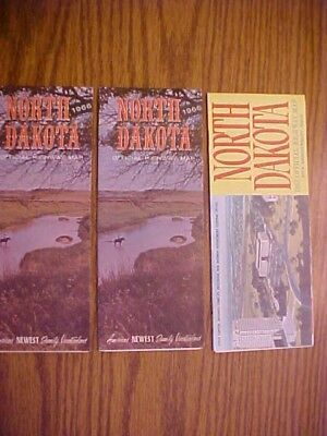 3 NORTH DAKOTA OFFICIAL STATE ISSUED ROAD HIGHWAY MAPs 1966 1967