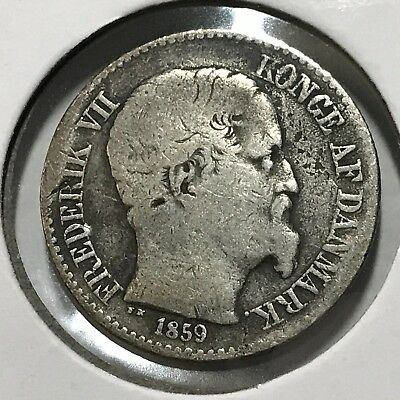 1859 Danish West Indies Silver 10 Cents Scarce Better Grade Coin