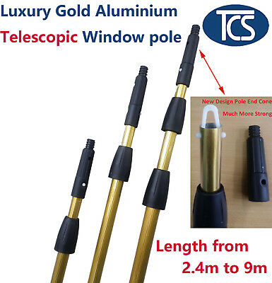 Extension 2/3 Level Professional Gold Aluminium Window Cleaning Telescopic Pole
