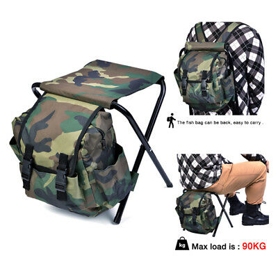 2 in 1 Fishing Stool Backpack Foldable Seat Chair Wear-resistance Tackle Bag