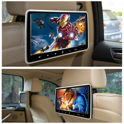 """HDMI Black 10.1"""" LCD Car Headrest Active Monitor DVD/FM Player Game Kids Play"""