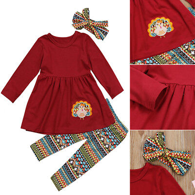 US Thanksgiving Turkey Kids Baby Girl Outfit Clothes T-shirt Top Dress+Pants Set