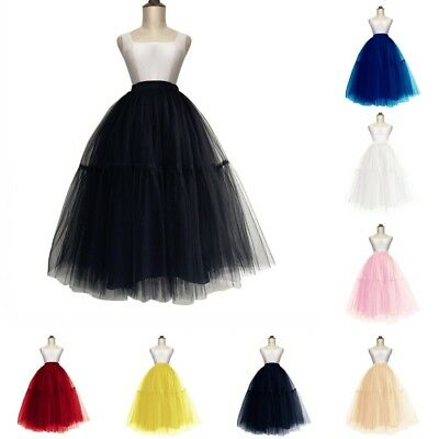 Layers Women Midi Tulle Tutu Skirt Petticoat Wedding Bridal Dress Prom Ball Gown