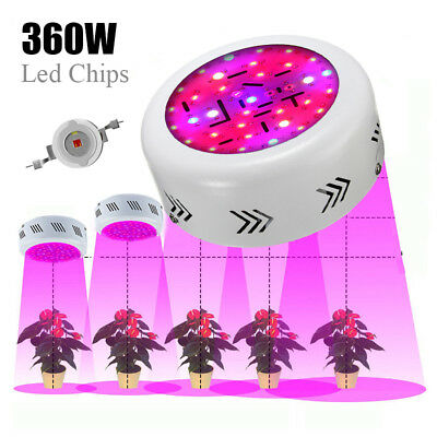 360W LED Grow Light UFO Round Lamp Red Blue IR UV Full Spectrum For Hydro Plant