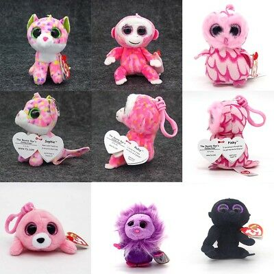 "3.2"" Ty Beanie Boos Plush Dolls Toys key chain Animals Stuffed Kids Xmas Gifts"