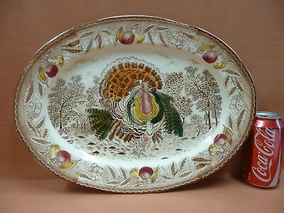 Old Large Meat Platter with Turkey Pattern.