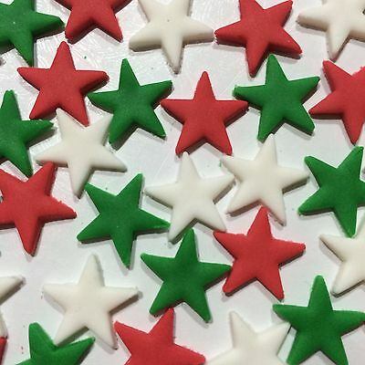 Edible Suger Stars Christmas ColorsCake,Cup Cake Toppers x 40 Red, Green & White
