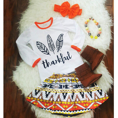 US Newborn Kids Baby Girl Thanksgiving Clothes T-shirt+Skirt+Headband Outfit Set