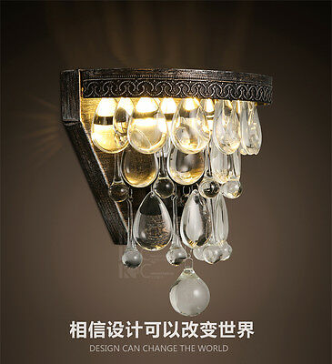 Vintage Metal & Crystal Sconce Double E14 Light Wall Lamp Home Lighting Fixture