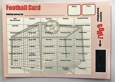 Charity Event Football Fund Raising/Fetes / Bar Pub Games Scratch Cards 40 Team