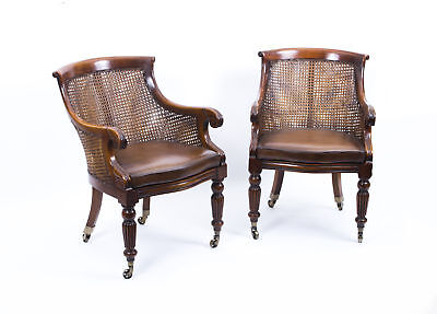 Pair Regency Style Caned Library Bergere Armchairs