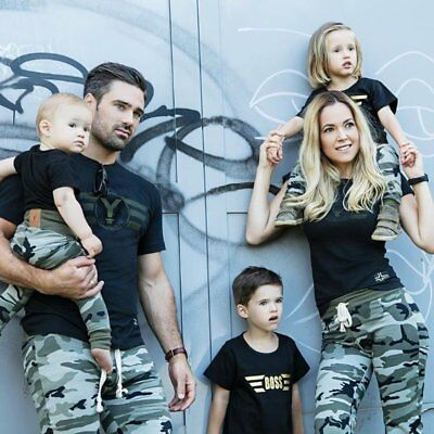Kids Adult Family Camouflage Matching Outfit Clothes T-shirt Tops+Pants 2pcs Set