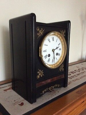 Unusual Antique French black marble Clock - Japy Freres Medaille De Honneur