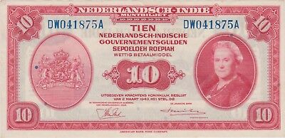 Indonesia / Netherlands Indies 10 gulden 1943, Vf/Xf  P114a, (280)