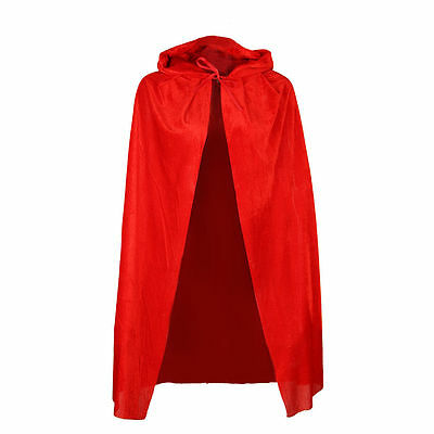 Short Red Hooded Cape Ladies Fancy Dress Fairytale Riding Hood Halloween Costume