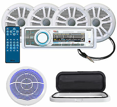 """Boss MCK752WB.64 Marine Bluetooth CD Receiver+4) 6.5"""" Speakers+10"""" LED Subwoofer"""