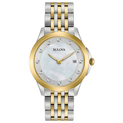 Bulova Women's 98P161 Quartz Diamond Accents Two-Tone Bracelet 36mm Watch