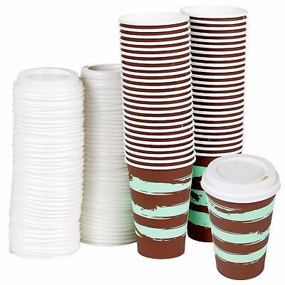 250ml Disposable Paper Coffee Tea Chocolate Hot Cups Sip Lids Party Drinks 8/9oz