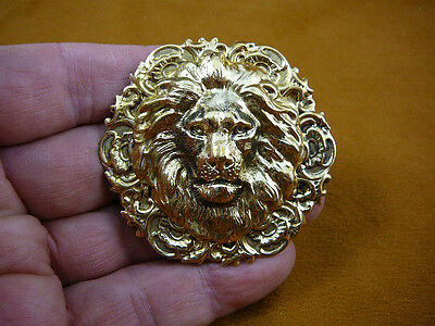 (B-LION-359) Lion big cat noble mane lover wild Lions round brass pin pendant