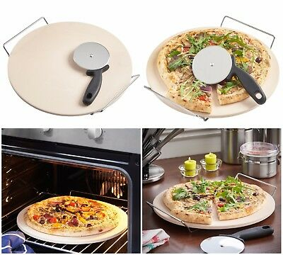 Pizza Stone Baking Set Chrome Stand Serving Tray Peel And