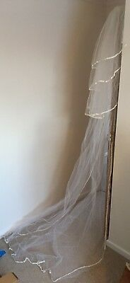Vintage 1970's Wedding Veil  4 Tier With Daisy Trim - one careful lady owner!