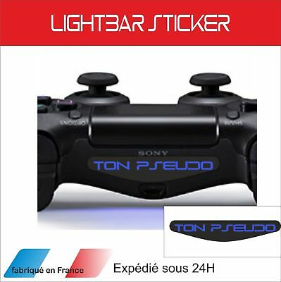 lightbar deco autocollant manette PS4 playstation 4 stickers ton pseudo 2 + 1
