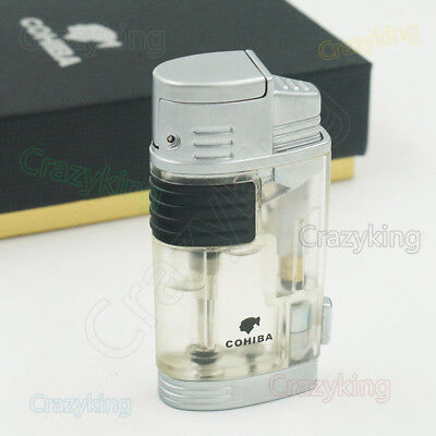 COHIBA White transparency 2 Torch Jet Flame Cigar Cigarette Lighter With Punch