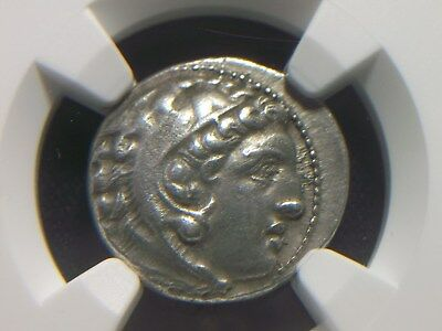 Authentic Greek Silver Drachm of Alexander III the Great,  NGC AU   4004