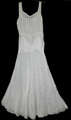 SEXY VTG ART DECO 30s SHEER WHITE PRINT ORGANDY LONG GOWN DRESS NOT A SLIP S  M