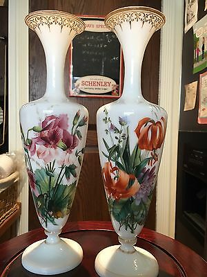 Pr Antique Baccarat Painted Vases Floral Motif
