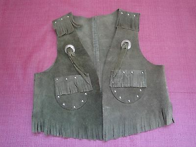Vintage Suede Leather Western Cowboy Vest Child's Size M (4-5) Green