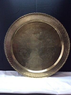 VINTAGE BRASS WALL HANGING PLATE PLATTER TRAY DISH Large 26 inches
