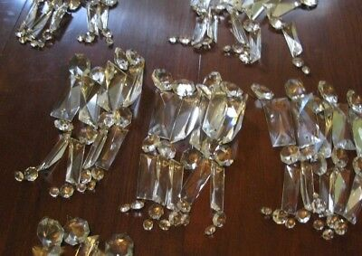 Vintage/Antique Glass Crystal Faceted Prism Replacements Chandelier 8 inch