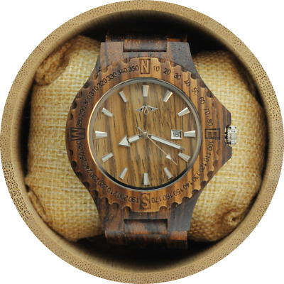 Angie Wood Creations Zebrawood Men's Wood Watch With Laser Engraved Bezel-Watch
