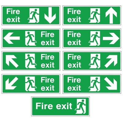 White Rigid Plastic Self-Adhesive Fire Exit Signs