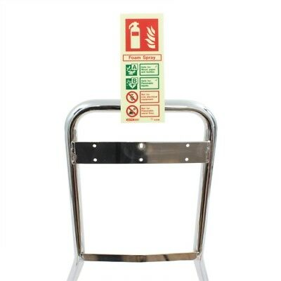 Fire Extinguisher ID Sign Chrome Stand Clip