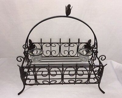Southern Living Acanthus Table Centerpiece Iron Metal Basket Votive Holders