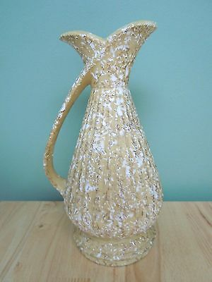 """Vintage Retro Gold with White 50's-60's Vase Applied Handle, 12""""  ~ INV # 939"""