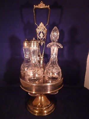 Vintage Rogers 542 Triple Plate  5 Bottle Cruet Set in Carousel