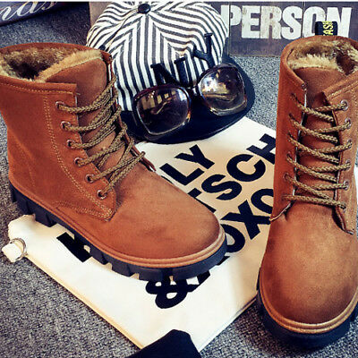 Work Women's Winter Warm Casual Leather Fur Lace up Outdoor Snow Boot Taul #010