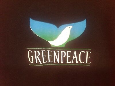 Greenpeace Vintage 80's Black Sweatshirt Dove Whale Tail