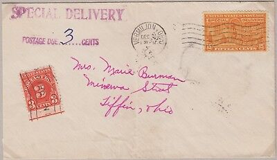 1931 15¢ Special Delivery Dec. 8, 1951 first class postage unpaid Ohio Scott E16